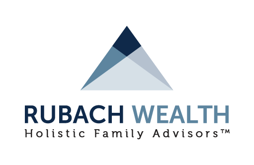 Blue and white Rubach Wealth logo