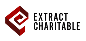 Red and Black Extract Charitable Fund logo with swirl